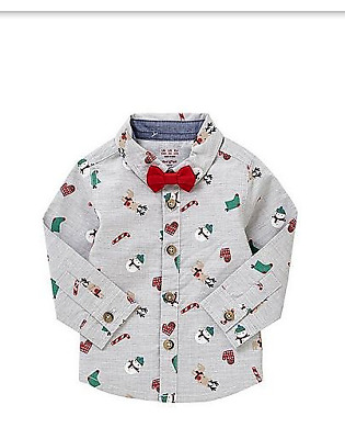 *New Tags M&S Marks Baby Boys Christmas Print Shirt and Dickie Bow 12-18 Months*