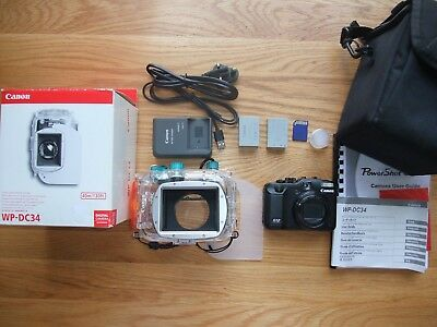 Canon Powershot G12 10MP Camera & WP-DC34 Underwater Housing Dive Bundle