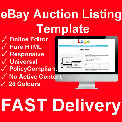 Custom eBay Listing Auction Template HTML Responsive Mobile Design Store Shop