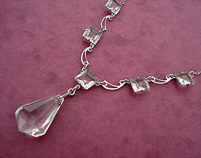 ART DECO DROPPER NECKLACE OPENBACK CRYSTAL SQUARES & FANCY LINKS Vintage 1930s