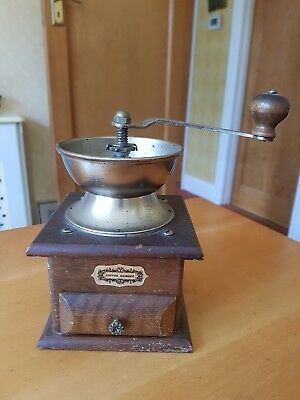Vintage Coffee Manual Hand Grinder Mill with Wooden Base and Drawer