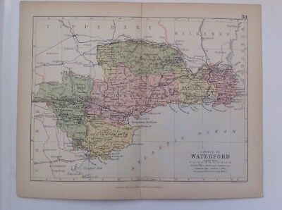 Waterford, 1882 Antique County Map, Bartholomew, Atlas, Philip, Ireland