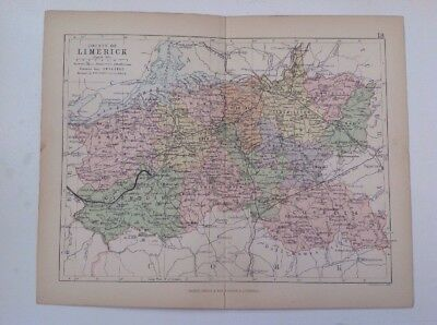 Limerick 1882 Antique County Map, Bartholomew, Atlas, Philip, Ireland