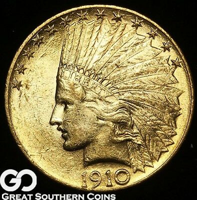1910 Gold Eagle, $10 Gold Indian, Very Nice & Lustrous