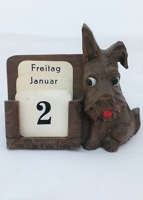 Art Deco Black Forest Carved Scottie Dog Desk Calendar Glass Eyes ca 1930 German