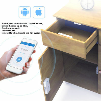 Electronic Bluetooth Smart Hidden Cabinet Lock Door Drawer Home Safety 14X6X2cm
