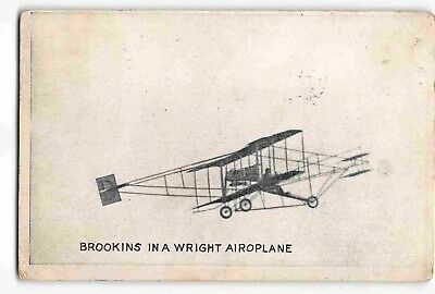 jwj23c: WALTER BROOKINS IN A WRIGHT AIRPLANE, Historic aviation postcard c1910