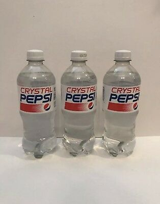 Crystal Pepsi 20 Oz Lot Of 3 Ex Date Of 10/29/18 New Unopened Clear Cola