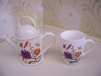 Royal Horticultural Society Watering Can Teapot And Matching Cup Mug
