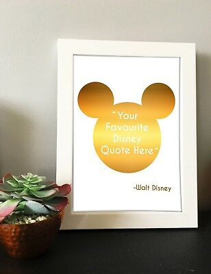 Foiled Disney Custom Quote Real Rose Gold, Gold Foil Wall Art Sign Mickey Mouse