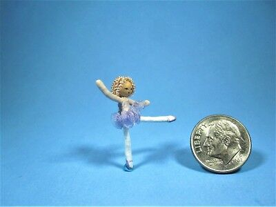 Dollhouse Miniature Vintage Ballerina Wired Child's Doll handcrafted