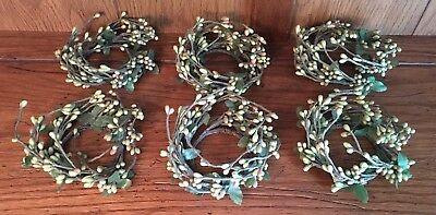 Mini Wreaths w/ Green Berries Candle / Lighting Decor ~ Lot of 6