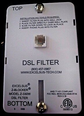 Excelsus Dsl Filter Z-Blocker Model Z-330W  Wall Mount Phone Line Filter-Sale!