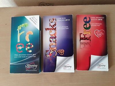 Slimming world Books X 3-- Low Syn Snacks & 2 Free Branded Food Books- used