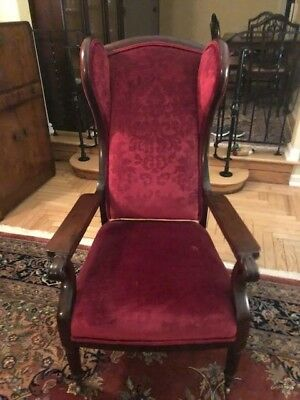 Antique Wood Arm Chair, Upholstered