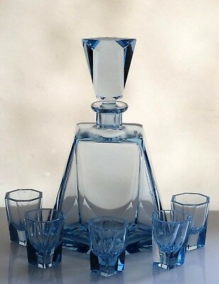 Art Deco Czech Bohemian Sapphire Blue Glass decanter and 5 glasses
