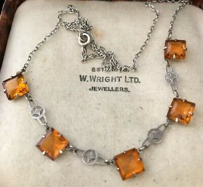 Vintage Jewellery delightful Edwardian square faceted crystal pendant necklace