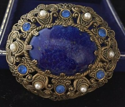 Vintage Jewellery Beautiful Faux Lapis Lazuli And Faux Pearl Czech Brooch