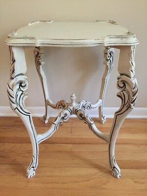 "Antique Carved Wood Side Table Painted Distressed Ornate 27&5/8""high Light Beige"