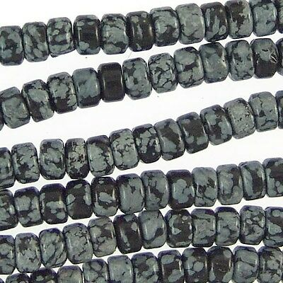 Snow Flake Obsidian Gemstone 6mm Puffy Disk Rondelle Beads 78387 Black Snowflake
