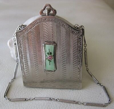 Antique Art Deco Silver T Green Guilloche Pink Floral Coin Holder Dance Compact