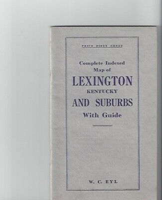 City of Lexington Kentucky 1923 Complete Indexed Map and Guide, Near Mint!