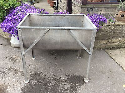 Large Weathered Vintage  Galvanised Riveted  Trough on Legs Garden Planter