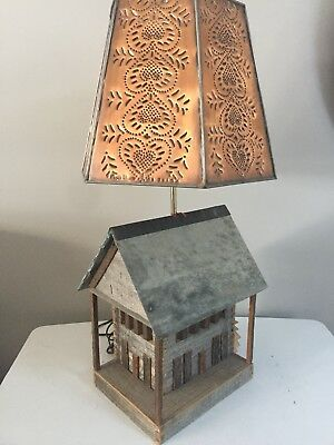 Vintage Lamp Barn Wood & Slate Roof Rustic Lamp With Punched Copper Tin Shade