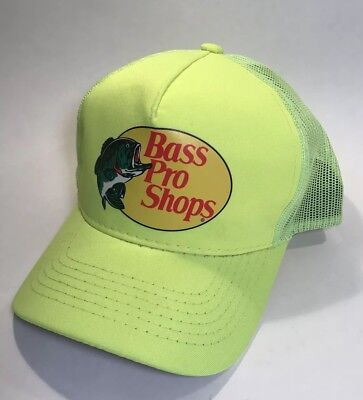 Bass Pro Shops Logo Mesh Trucker Hat Safety Yellow Neon Green Adjustable  Fishing 33505570d46b