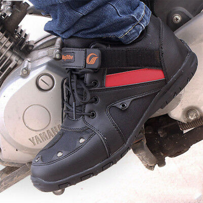 1 Pair Men Waterproof Leather Motorcycle Racing Boots Short Ankle Sports Shoes
