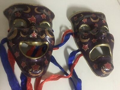 Pair of Vintage Solid Brass Wall Hangings Comedy & Tragedy Theater Masks India