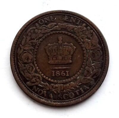 1861 Nova Scotia / Canada One Cent Original Provincial Copper Coin Nice EIN436