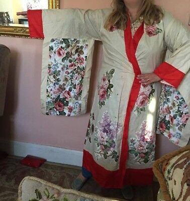 Costume Kimono hand made Theatrical play Chinnese Roses jacket Housecoat Lrg
