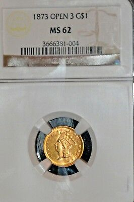 1873 Open 3 Gold $1.00 $2.50  Ngc Ms62  A Gorgeous Coin