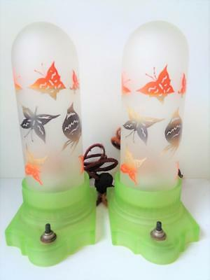 1920s Art Deco Boudoir Table Lamps Butterfly Torpedo Shades Green Frosted Glass