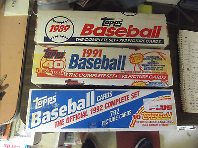 Lot Of (3) 1989-1991-1992 Topps Baseball Factory Sealed Sets-- White Boxes