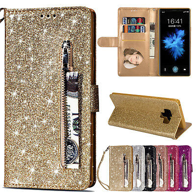 Bling Leather Flip Wallet Stand Case Cover For Samsung Galaxy Note 10/9/S10 +/S9