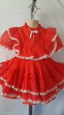 "Vtg Toddler Girl ""sweet N Sassy"" Red Nylon Sheer Full Party Holiday Dress 3T/4T"