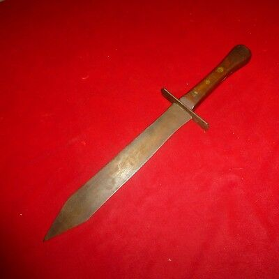 "Rare Civil War Era Confederate 19"" Soldier Coffin Handle Spike Point Bowie Knife"