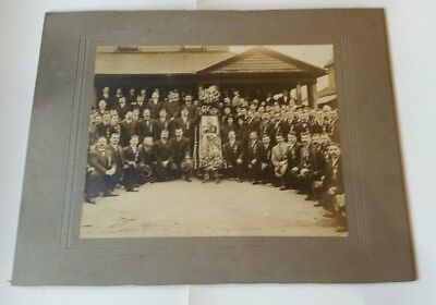 Antique  Matted Photo Knights of Pythias open Coffin Funeral Lodge K of P pin