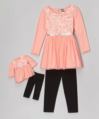 Dollie and Me Girls Tunic with knit Pants Size 7 with Matching Doll Outfit NWT