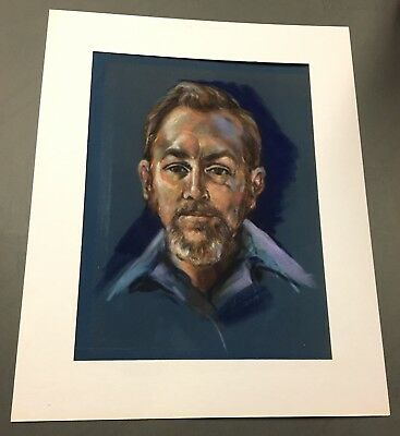 Vintage Art Portrait Of Man Pastel Drawing Original Signed Mat Not Included