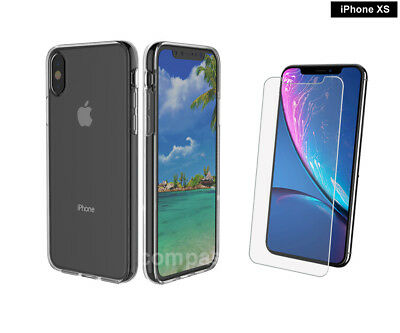 For New Apple iPhone XS Clear Gel Case With Free Glass Screen Protector