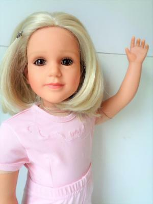"2006 My Twinn Doll 22"" Blonde Pageboy Brown Eyes in Original Pink Ballet Outfit"