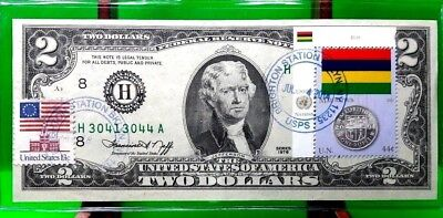 Money Us $2 Dollars 1976 Federal Reserve Note  Coin And Flag Mauritius Gem Unc