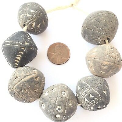 Old Antique African spindle whorl clay African trade beads-Collectible