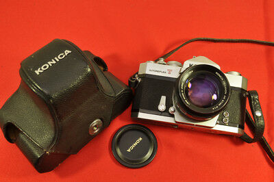 Konica AutoReflex T with less common 57mm f/1.4 Hexanon AR lens, case and cap