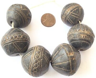 8 Old Antique African spindle whorl clay African trade beads-Collectible