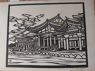 Japanese style woodblock print signed by aki sogabe