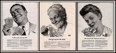 Ad Lot Of 3 1943 Wwii Ads United States Playing Cards Portraits Happy